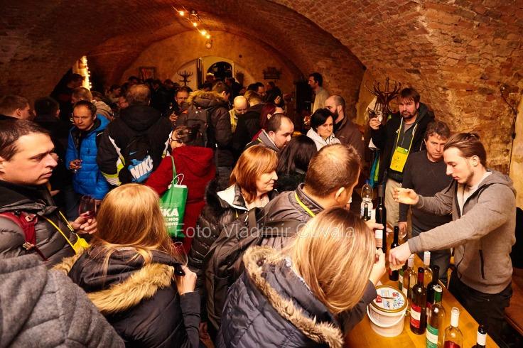 9. ročník otvorených vínnych pivníc v Pezinku. V 24 pivniciach sa predstavilo spolu 34 vinárstiev z Pezinka a okolia. Degustovanie vína v historickej pivnici mestskej vinotéky. Víno Hamšík, Pezinok. 11/02/2017 Pezinok.